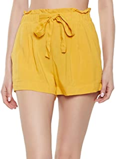 PATRORNA Patrona Antimicrobial Blended Womens Paperbag Shorts/Hot Pant (Mustard Yellow, XS-10XL)