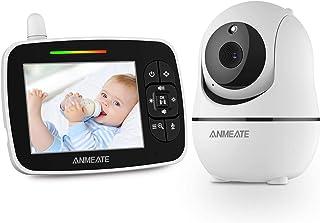 Monitor de bebé con cámara panorámica remota con zoom panorámico, pantalla grande de 3,5 pulgadas, monitor de bebé con cámara y audio, visión nocturna infrarroja | conversación de dos vías | temperatura ambiente | canciones de cuna y rango de 960 pies