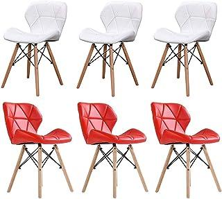 LHHL Juego de 6 sillas de comedor nórdicas, sillas de cocina, cojín de poliuretano, patas de madera de haya sólidas, 175 kg de carga