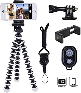 Tripod for Camera,Filming Portable and Flexible Adjustable Stand Holder with Remote and Universal Clip Compatible with iPhone Android Phone Compact Digital Camera Sports GoPro (Black&White)