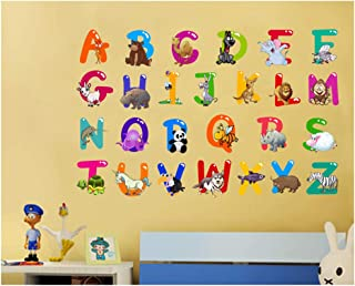 ufengke Alphabet Art Letters and Animals Wall Stickers Removable Vinyl Peel and Stick Wall Decals for Nursery Children's Room Bedroom
