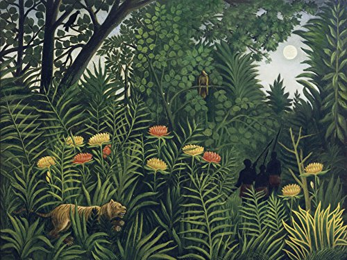 Artland Alte Meister Premium Wandbild Henri Rousseau Bilder Poster 60 x 80 cm Urwald mit Tiger und Jägern Kunstdruck Wandposter Impressionismus R0HO