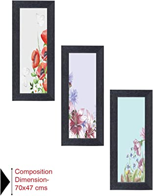 Amazon Brand - Solimo Flower Field Painting with Frame, Set of 3