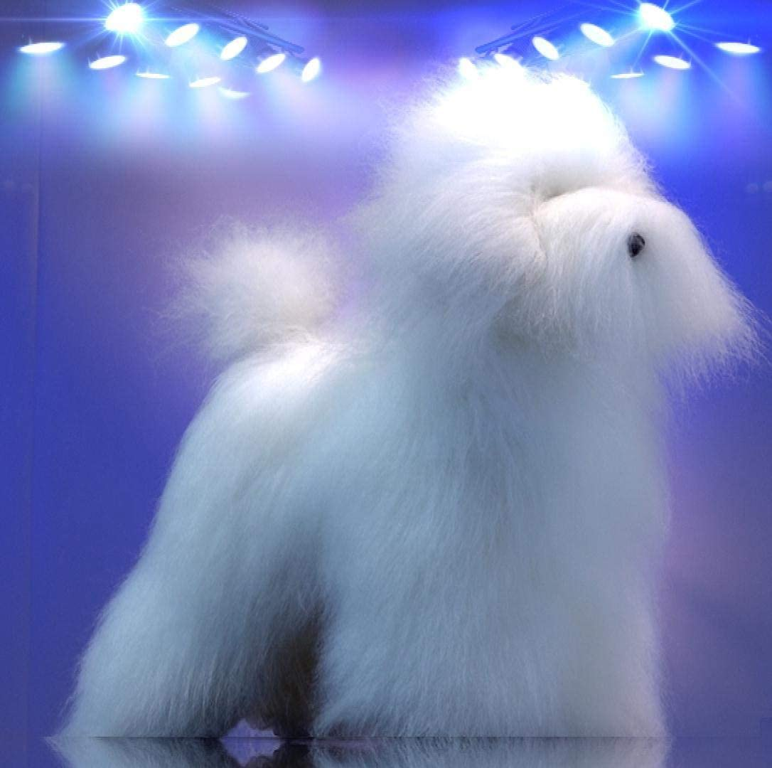 perro de mentira para hacer peluqueria canina en color blanco