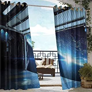Andrea Sam Fashions Drape Outer Space Decor,Interstellar Airlock Shuttle Runway Gate Journey to Stars Invasion View,Blue Gray,W84 xL84 for Front Porch Covered Patio Gazebo Dock Beach Home