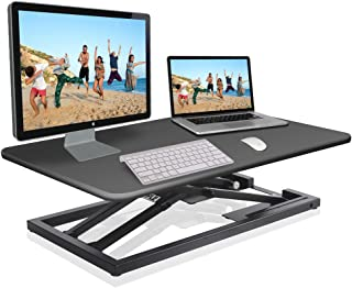 Pyle Ergonomic Standing Desk & PC Monitor Riser - Up to 18 inch Height Adjustable Laptop & Computer Table - Black Sit & Stand Folding Desktop Workstation Converter for Office or Gaming Use - PDRIS08