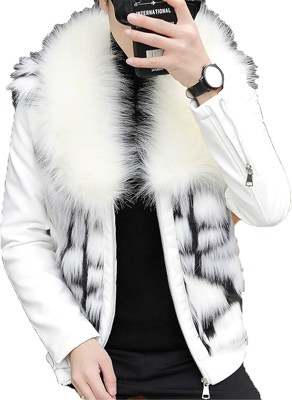 Outstanding Men's Faux Fur Coat Leather Jacket Slim Vintage PU Fit Our shop most popular Motorcycl