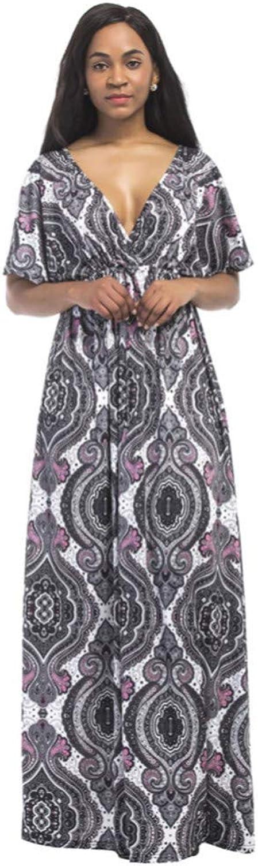 XIAOPANGHAI Women Plus Size Maxi Dress Geometric Print Vintage Dress Plunge VNeck Summer Beach Dress Short Sleeve Bohemian Long Dresses