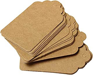 Furnido 100 Pcs Kraft Paper Label hang tag for Party Wedding Birthday Gift Name Cards Christmas Hand-painted bookmarks Jew...