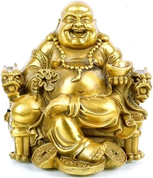 Fengshui Buddha Statue For Lucky Happiness God Of Wealth Laughing Buddha On Emperor S Dragon Chair Brass Buddhist Statues And Sculptures Home Decor Congratulatory Gifts Medium