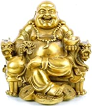 Fengshui Buddha Statue for Lucky & Happiness God of Wealth,Laughing Buddha on Emperor`s Dragon Chair,Brass Buddhist Statue...