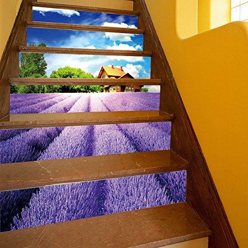 bai Autocollant D'escalier Stickers Muraux DIY 3D Lavande Paysage Remis à Neuf Respectueux De La Nature PVC Fond D'écran Mural Art Décorations pour La Maison Amovible Facile à Appliquer 1 Jeu (6 Pc)