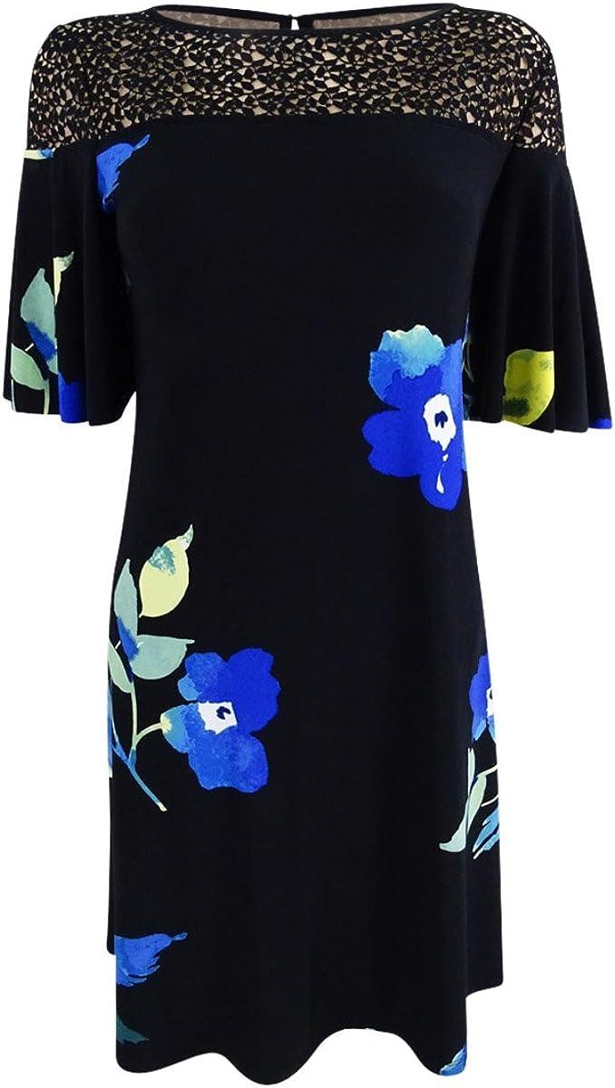 Lauren by Ralph Lauren Women's Lace-Trim Floral-Print Dress