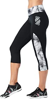 STRONG by Zumba Wide Waistband Slimming Athletic Performance Compression Cropped Capri Workout Leggings for Women