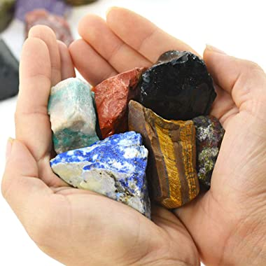 """Unihom 3 lbs Bulk Rough Madagascar Stones Mix - Large 1"""" Natural Raw Stones Crystal for Tumbling, Cabbing, Fountain Rocks"""