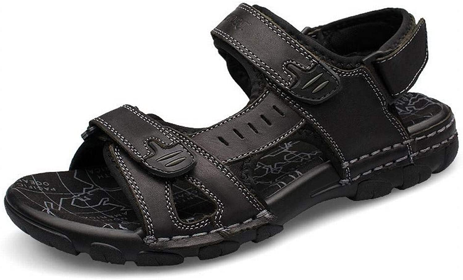 Men's Fashion First Layer Leather Sandals Men's Beach Men's shoes Summer Leather Sandals (color   Black, Size   42)