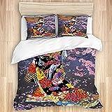 BROWCIN Bedding Juego de Funda de Edredón,Luna de pétalos de Geisha Japonesa,Microfibra Funda de Nórdico y Fundas de Almohada-(Cama 240 x 260cm)
