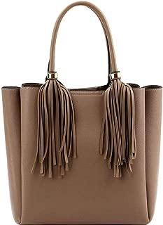 Dual Tassel Fringed Classy Boho 3 Compartment Vegan Leather 2 Way Tote Bag Purse
