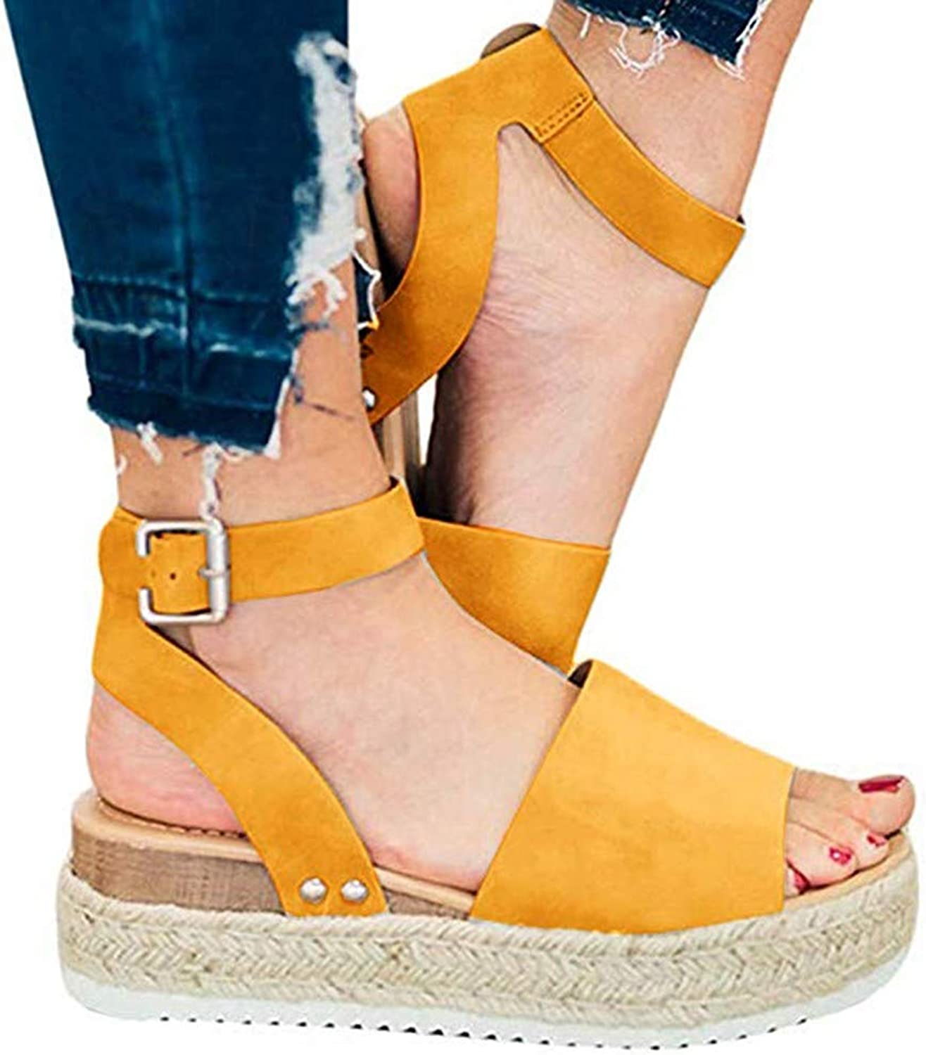 Women Summer Sandals Retro Peep Toe Wedges Buckle Ankle Strappy for Ladies Fashion Flat Lace Up 5 cm High Heels Leather Slingback Platform shoes Casual Comfy Espadrilles(Yellow),Yellow,43