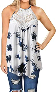 Sandwind Casual Floral Tank Tops for Women Lace HolLow Out O-Neck Sleeveless Blouse White Blue for Daily Home Party Beach ...