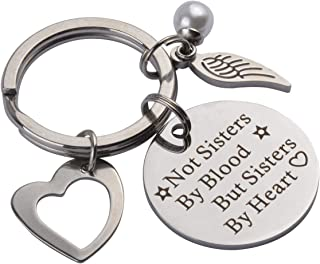 Queenbox Not Sisters by Blood But Sisters by Heart, Stainless Steel Keychain Friendship Keychain Sister, for Friends