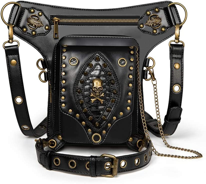 New products world's highest quality OFFer popular Goth Style Steampunk Bag with Metal Rivet Retro Decoration Skull