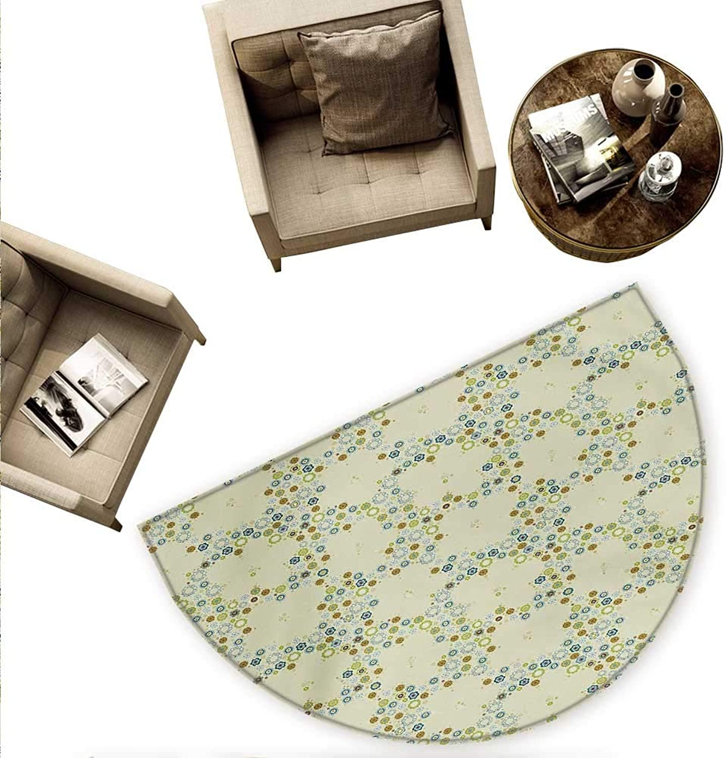 Flower Half Round Door mats Ornament of Medallion Shapes Bordered with Small Wildflowers Pattern Print Bathroom Mat H 78.7  xD 118.1  Khaki bluee Green