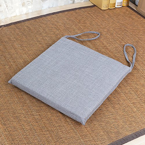 JYAcloth Non Slip Square Chair Cushion with Ties,Cotton Linen Thick Seat Pads for Dining Kitchen Chairs Breathable Chair Pads Office Garden Outdoor Seat Cushion