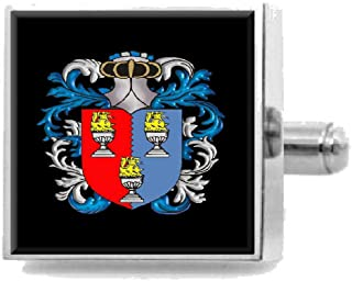 Select Gifts Bowles England Family Crest Surname Coat Of Arms Cufflinks Personalised Case
