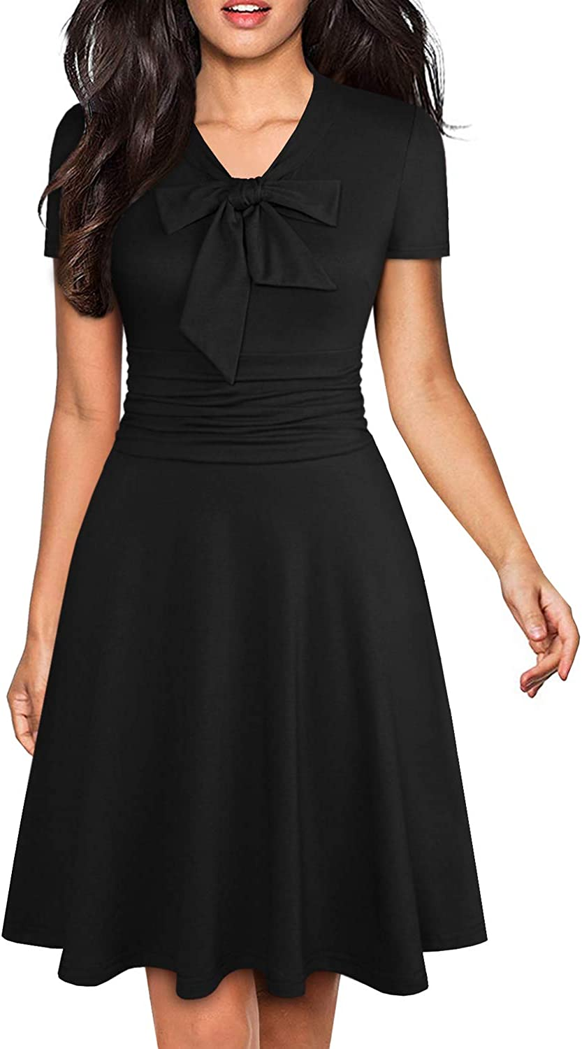 YATHON Women's Elegant Bow Tie Swing Casual Party Dresses Vintage Ruched Stretchy A-line Skater Dress