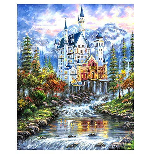 DIY Digital Painting,Hand-Painted Color Fill,Living Room Oil Painting Decorative Painting 40X50Cm,Castle Zwwcj