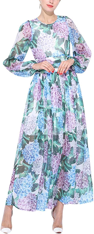 Boho Floral Print Oneck Long Sleeve Maxi Women Beach Party Wedding Swing Dress