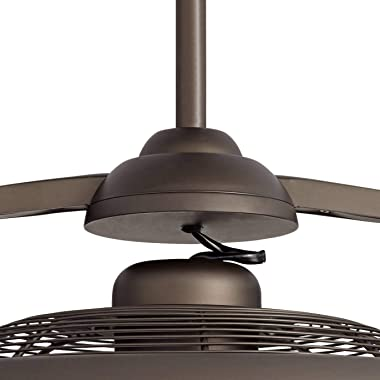 """26"""" Segue Modern Retro Indoor Ceiling Fan with Light LED Remote Control Bronze Cage for Living Room Kitchen Bedroom Famil"""