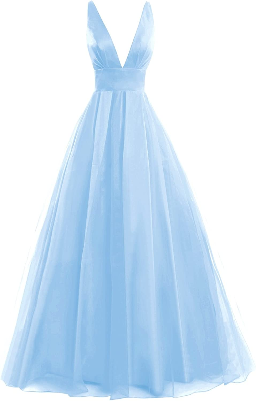 KAMA BRIDAL Women's Long V Neck Prom Dress Tulle Backless Straps Evening Gown
