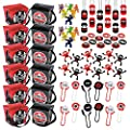 Ninja Party Favors Assortment (60 pcs) and 12 Ninja Takeout Goody Boxes - 72 Pieces Total