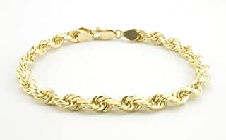 "Men's 10k Yellow Gold 6mm Solid Diamond Cut Rope Bracelet, 8""- 9"""