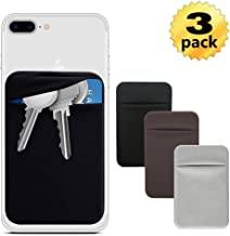 Phone Pocket Sticker Adhesive,ID Holder Cell Phone Stick On Card Wallet Sleeve, Credit Cards Holder(Double Secure) with 3M Sticker for Back of iPhone, and All Smartphones 3Pack (Black Brown Grey)