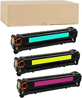 ADE Products Premium Compatible Replacements for HP 125A, HP CB541A CB542A CB543A 3 Color Toner Set for HP Color Laserjet CM1312 MFP, CM1312nfi, CP1215, CP1515n, CP1518ni Printers