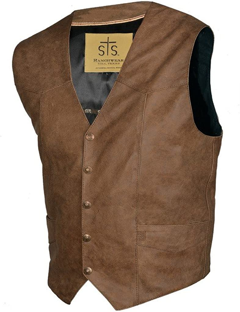 STS Ranchwear STS3643S Men's Lightweight Classic Leather Vest (Antique Brown, Small)