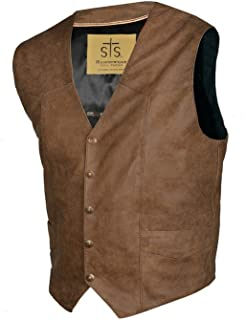 STS Ranchwear Men's Lightweight Classic Leather Vest (Antique Brown, Medium)