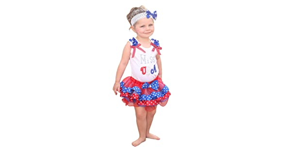 Miss USA White Top 4th July Patriotic Star Dot Satin Trim Girls Pettiskirt NB-8Y