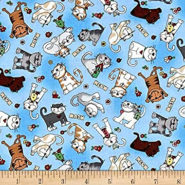 Fabri-Quilt Love is a Four Legged Word Tossed Cats Blue Fabric By The Yard