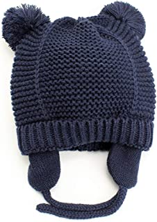 Baby Beanie Ear flap Warm Hat for Toddler Kid - Cute Bear Infant Soft Knit Winter Cap with Fleece Lining