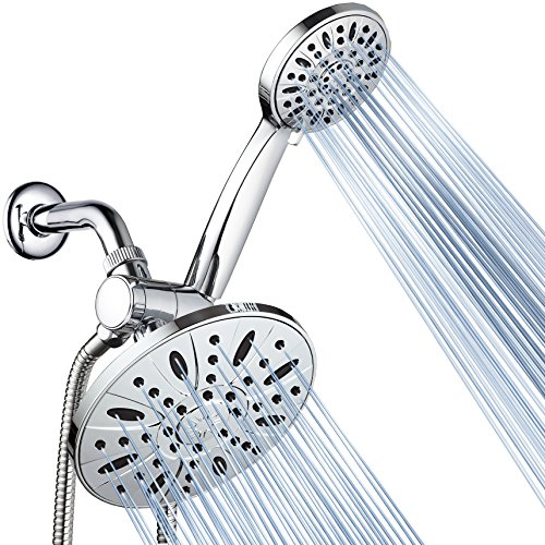 """AquaDance 7"""" Premium High Pressure 3-Way Rainfall Combo Combines The Best of Both Worlds-Enjoy Luxurious Rain Showerhead and 6-Setting Hand Held Shower Separately or Together, Chrome"""