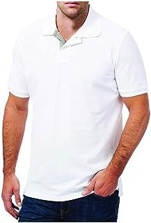 قميص بولو قطن للرجال - ابيض ميلانج فاتح