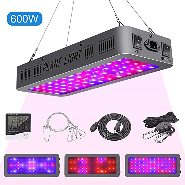 600W LED Grow Light Double On Off Switch Full Spectrum Grow Lamp With Daisy Chain Temperature And Humidity Monitor Adjustable Rope For Indoor Hydroponic Plants Vegetative And Flowering 600W