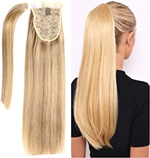 18 Inches Silk Straight Clip in Ponytail Hair Extensions Remy Human Hair for Women 1 Piece Hairpiece 80 Grams Wrap Around Ponytail Human Hair Extensions Gray and Blonde P18-613 Mix Color