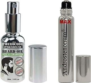 PheroCode Premium Beard Oil med feromon Androstenonum med pump 30 ml & ANDROSTENONUM MAX 100% feromon för män 8 ml roll-on