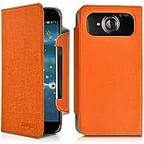 Seluxion-Funda con tapa universal tamaño L, color naranja para Acer Liquid Jade S, color marrón