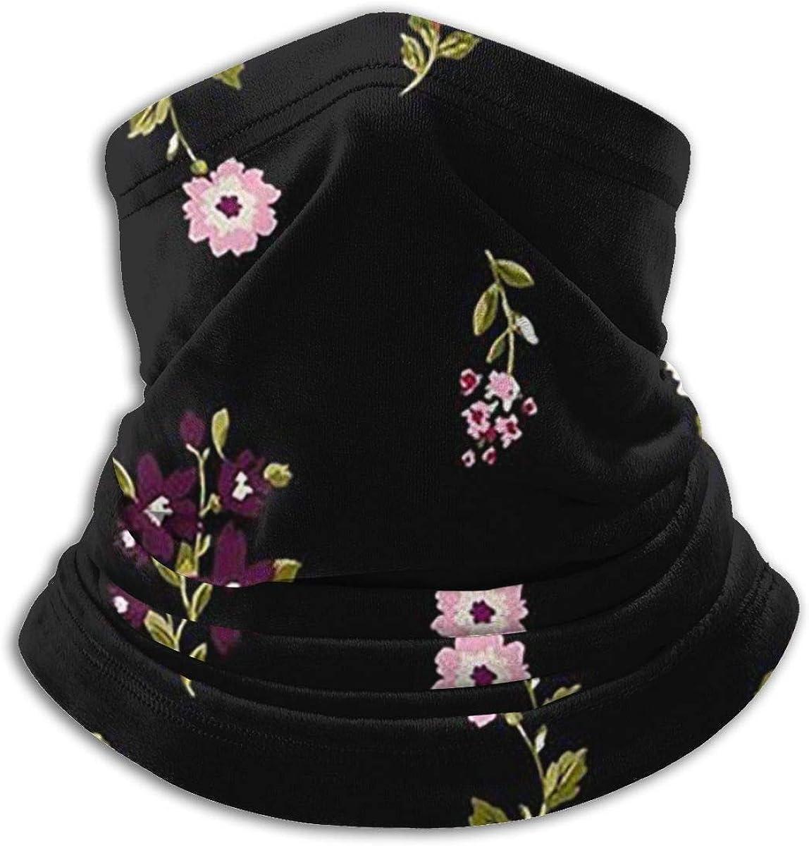 Floral Print Black Multi-function Neck Warmer Gaiter Polyester Neck Warmer Windproof Winter Neck Gaiter Cold Weather Scarf For Men Women